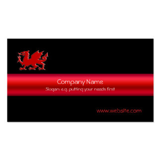 Red Welsh Dragon on black, and metallic-look strip Pack Of Standard Business Cards