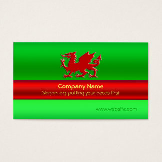 Red Welsh Dragon on green metallic-look Business Card