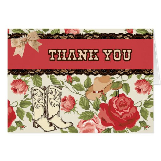 Red Western Thank You Card