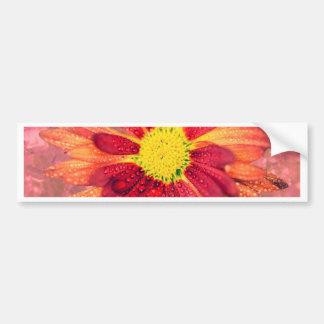 red wet flower bumper stickers