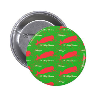 red whales merry christmas button