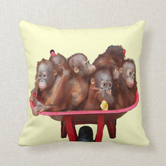 Red Wheelbarrow Orangutan Babies Cushion