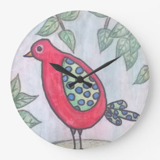 Red whimsical bird wall clock