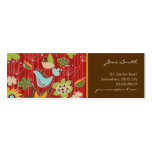 Red Whimsical Floral Garden Bird Nature Flowers