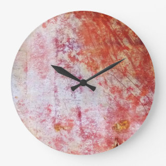 Red & White Abstract Grungy Painting Wall Clocks