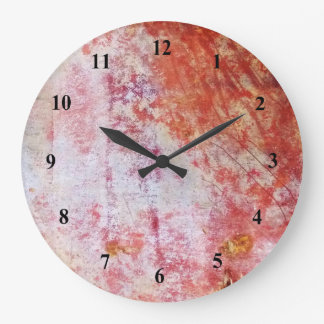 Red & White Abstract Grungy Painting Clocks