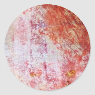 Red & White Abstract Grungy Painting Round Sticker
