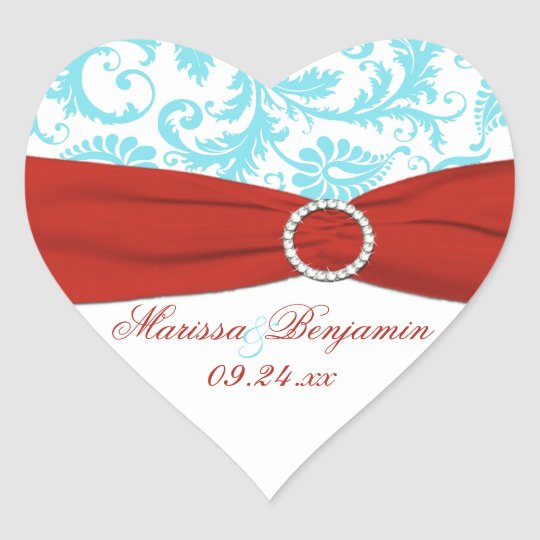 Red, White, and Aqua Damask Heart Shape Sticker