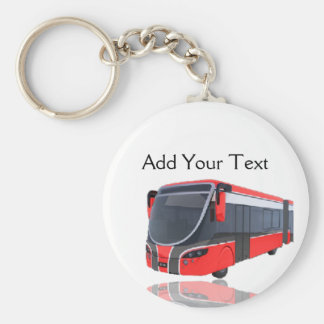 Red White and Black Bus on White Basic Round Button Key Ring