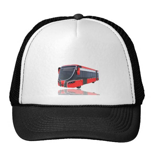 Red White and Black Bus on White Mesh Hats