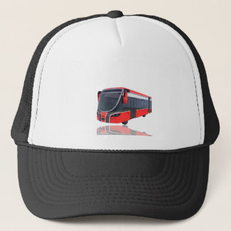 Red White and Black Bus on White Trucker Hat
