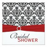 Red, White, and Black Damask Bridal Shower Invite