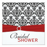 Red, White, and Black Damask Bridal Shower Invite 13 Cm X 13 Cm Square Invitation Card