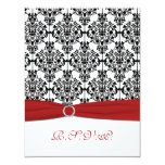 Red, White and Black Damask II RSVP Card 11 Cm X 14 Cm Invitation Card