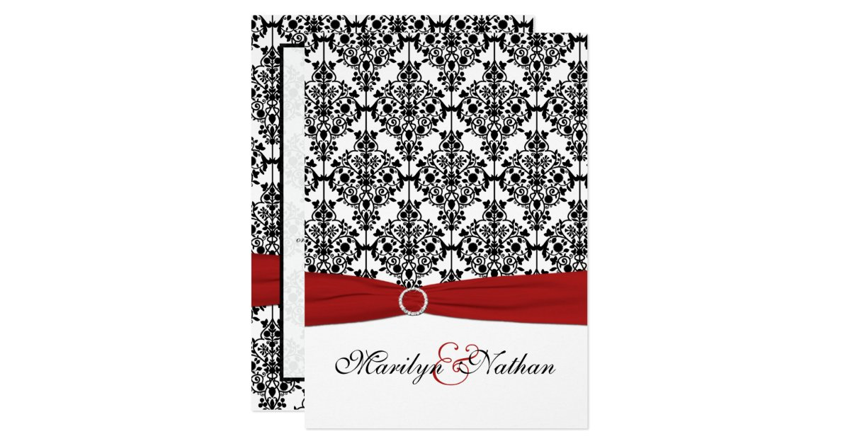 White And Red Wedding Invitations: Red, White And Black Damask II Wedding Invitation