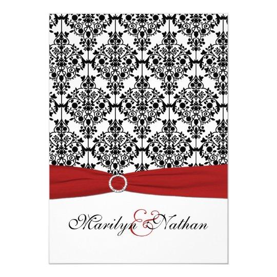 Red, White and Black Damask II Wedding Invitation