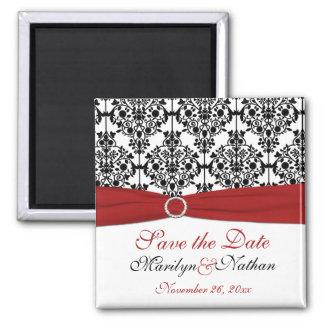 Red, White, and Black Damask Wedding Favor Magnet