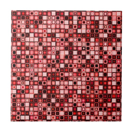 Red, White And Black Funky Retro Tiles Pattern