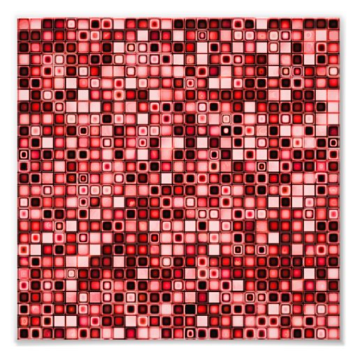 Red, White And Black Funky Retro Tiles Pattern Art Photo