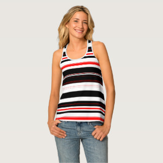 Red White and Black Horizontal Stripes Tank Top