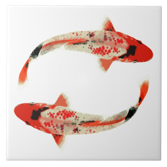 Red, White, and Black Koi Fish Large Square