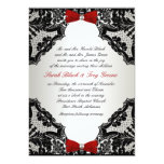 Red, white and Black lace Wedding Invitation