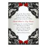 Red, white and Black lace Wedding Invitation 13 Cm X 18 Cm Invitation Card