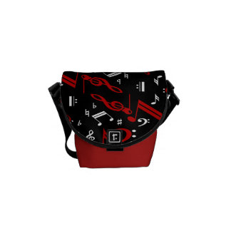 Red White and Black Musical Notes Courier Bag