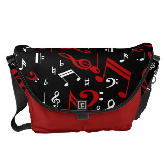 Red White and Black Musical Notes Messenger Bag