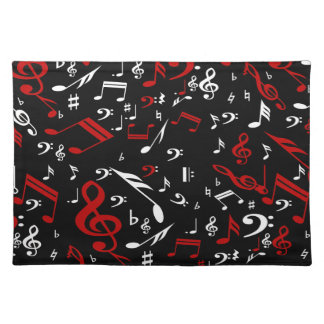 Red White and Black Musical Notes Placemat