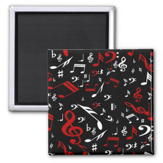 Red White and Black Musical Notes Square Magnet