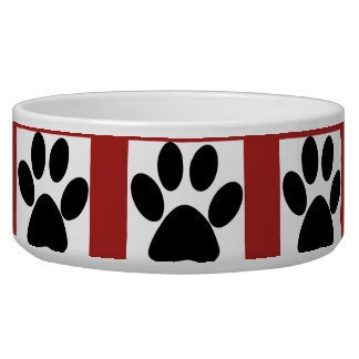 Red White and Black Paw Design Pet Bowl