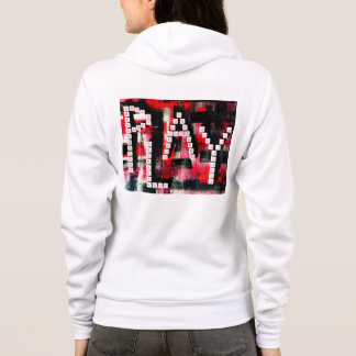 Red, White, and Black PLAY Art Texture Hoodie