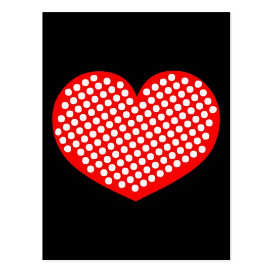 Red White and Black Polkadot Heart Postcard