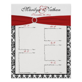 Red, White, and Black Reception Seating Chart