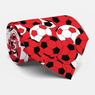 Red, White and Black Soccer Ball Collage Tie