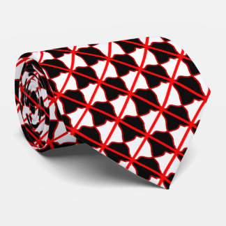 Red White and Black Square Necktie