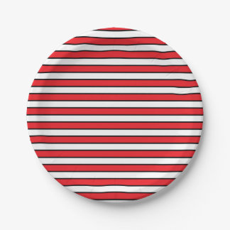 Red, White and Black Stripes 7 Inch Paper Plate
