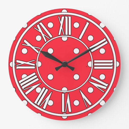 Red white and black wall clock zazzle for Red and black wall clock