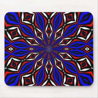 Red, White and Blue Abstract Mouse Pad