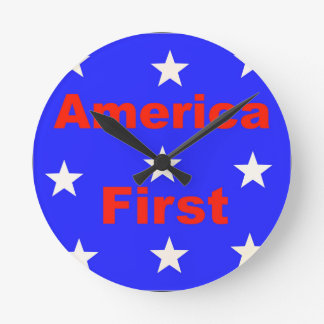 """Red, White, And Blue """"America First"""" Design Round Clock"""