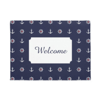 Red White And Blue Anchor Pattern | Add Your Text Doormat