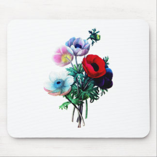 Red White And Blue Anemones by Redoute Mouse Pad
