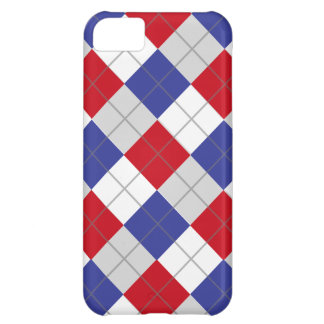 Red White and Blue Argyle Pattern iPhone 5C Cover