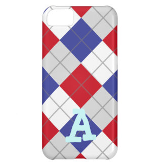 Red White and Blue Argyle Pattern Case For iPhone 5C