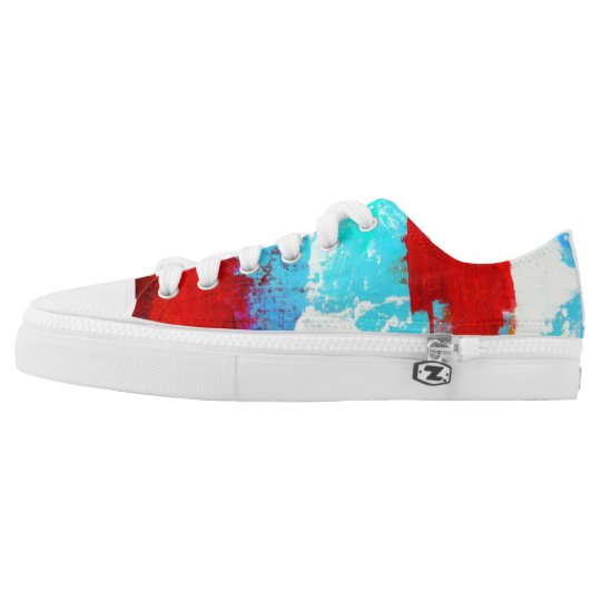 Red White and Blue Artist Designed Sneaker Printed Shoes