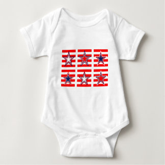 red,white and blue baby bodysuit
