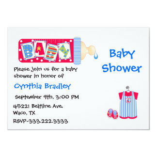 Red, White, and Blue Baby Boy shower invitation