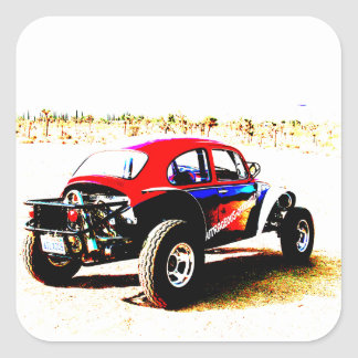 red white and blue baja bug in all categories square sticker