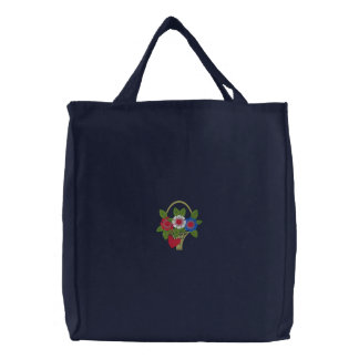 Red White And Blue Basket Of Flowers Embroidered Tote Bags